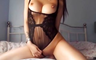 Asian hottie riding a dildo in stunningly hot clothes