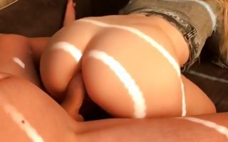 Fabulous blonde GF with big backdoor has deep anal sex