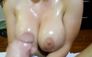 Watch my GF with huge boobs nicely sucking strong prick