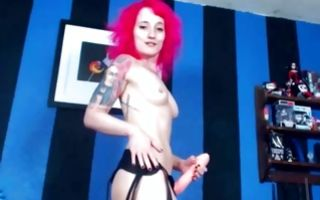 Naughty redhead ex-girlfriend posing and playing with dildo