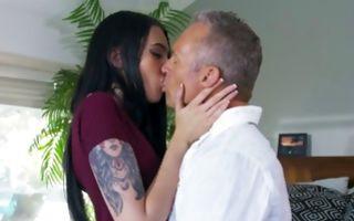 Impressive brunette girlfriend has sensual painful sex