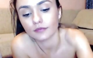 Watch my GF with big melons nicely playing with juicy muff