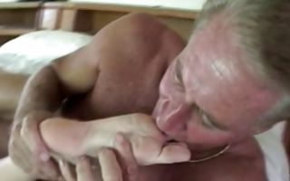 Breathtaking brunette girlfriend has deep sex with old man