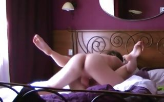 Naked blonde in bed with her boyfriend blowing his cock and riding it